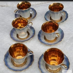 Vintage lusterware demitasse set